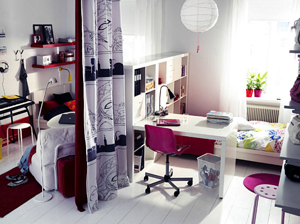 Ikea shared space teen room decoist Bedroom ideas for small rooms teenage girls