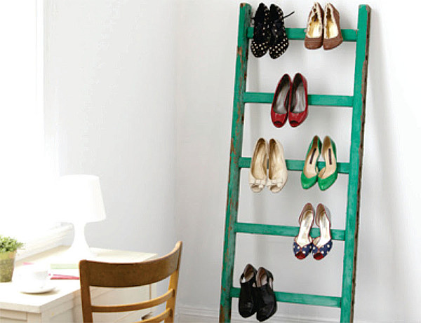 Ladder as shoe storage