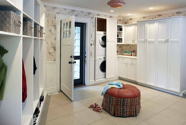 laundry mud room combo with stackable closet