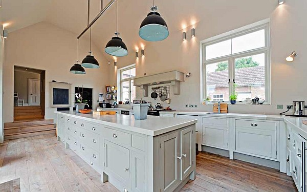 luxury farmhouse kitchen with white cabinets and island  Decoist