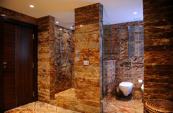 marble bathroom with walk in shower