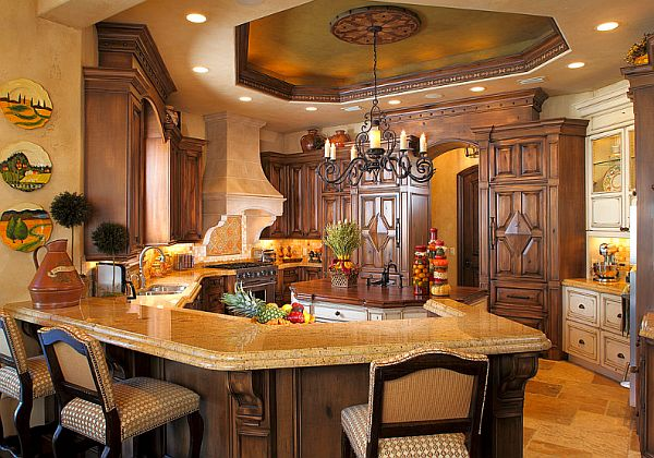 Spanish Kitchen Design Ideas With Red Color Marble ~ Decorating with a mediterranean influence inspiring