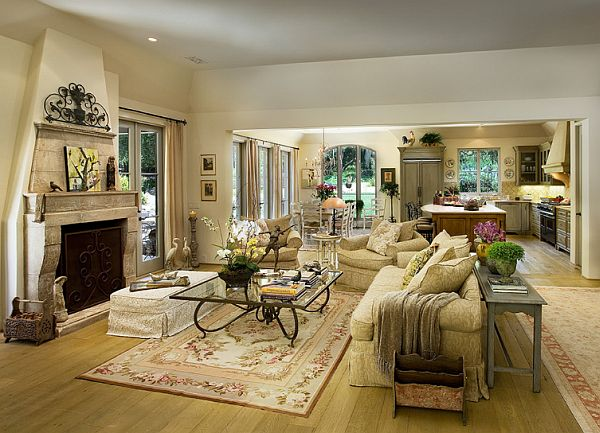 mediterranean living room design with fireplace and traditional