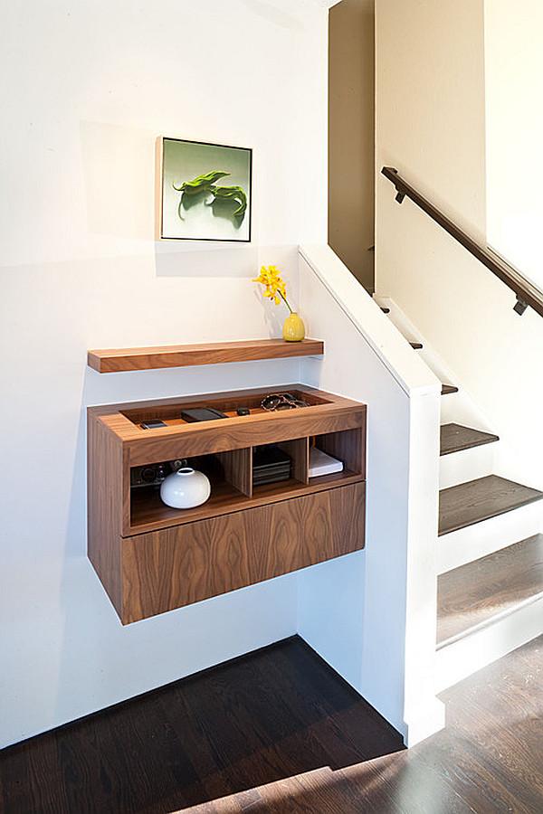 Minimalist entryway suspended table