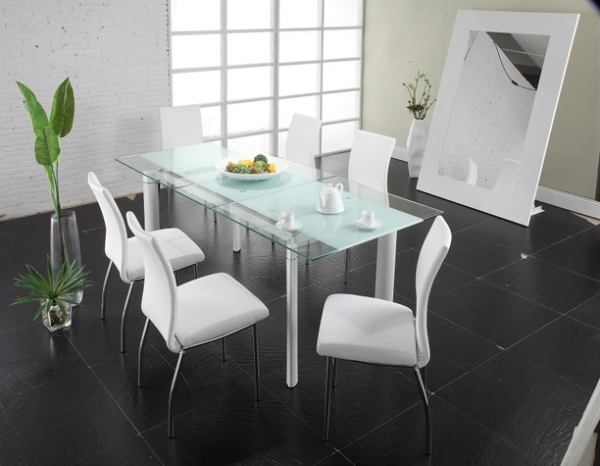 18 sleek glass dining tables - White table with glass top ...