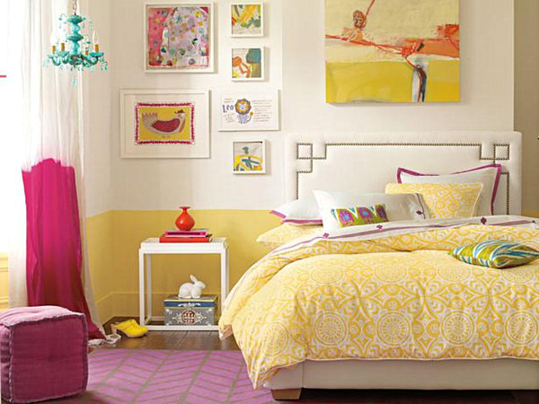 modern eclectic teen girls bedroom