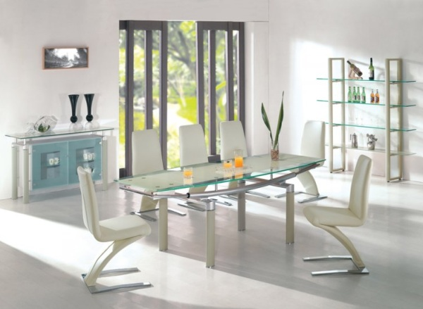 18 sleek glass dining tables for Glass dining table and chairs