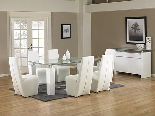 Modern Glass Dining Table With White Legs Decoist