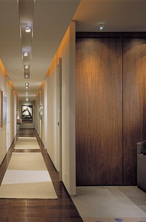 Modern hallway with recessed lights