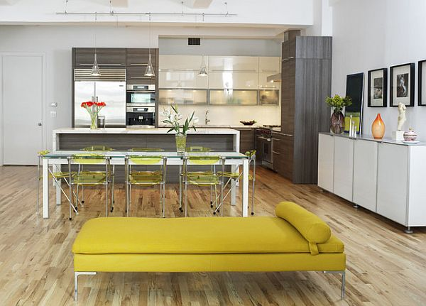 modern kitchen with open floor plan in grey and yellow