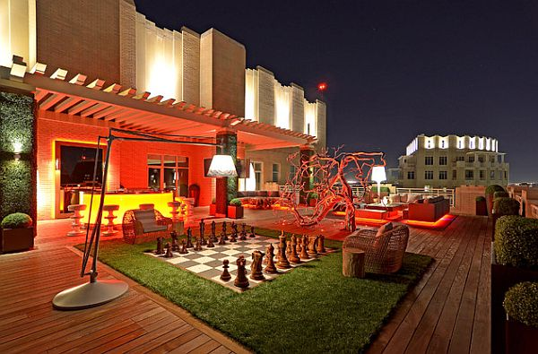 modern rooftop space with chess board patio