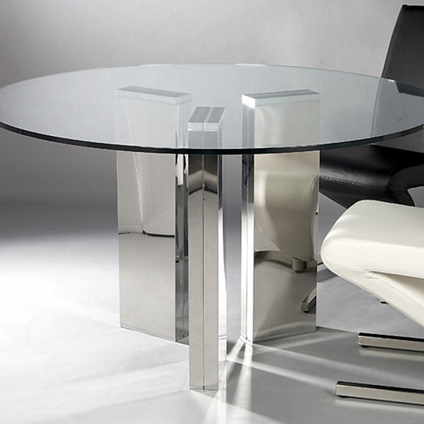 18 sleek glass dining tables for Modern large round dining table