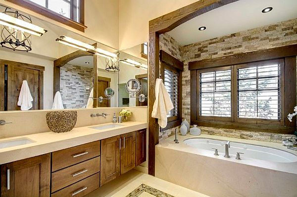 Modern rustic bathroom design with tiles immitating wood for Rustic tile bathroom ideas
