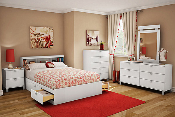modern tan and red teen bedroom