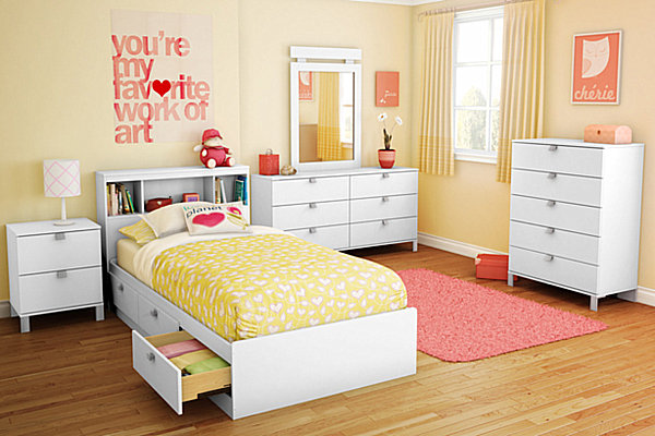 modern yellow teen girl bedroom