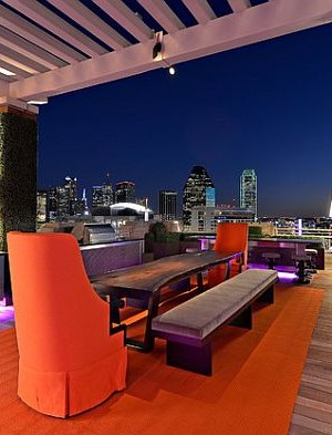 night glowing outdoor patio furniture for modern rooftop