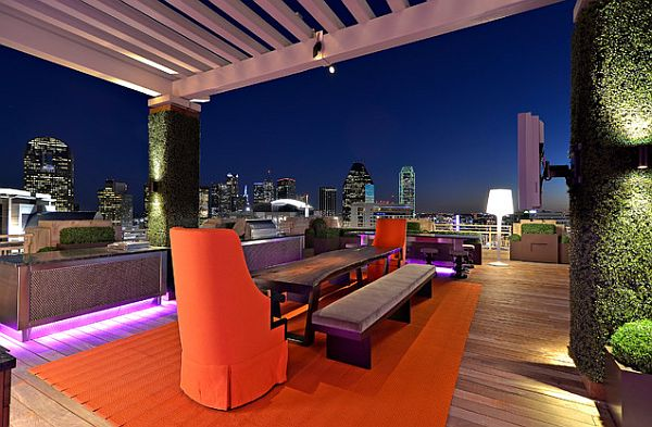 night glowing outdoor patio furniture for modern rooftop Decorating a Rooftop Space in Five Easy Steps
