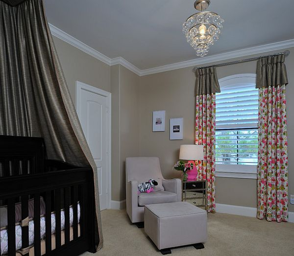 Nursery room with silk canopy baby crib