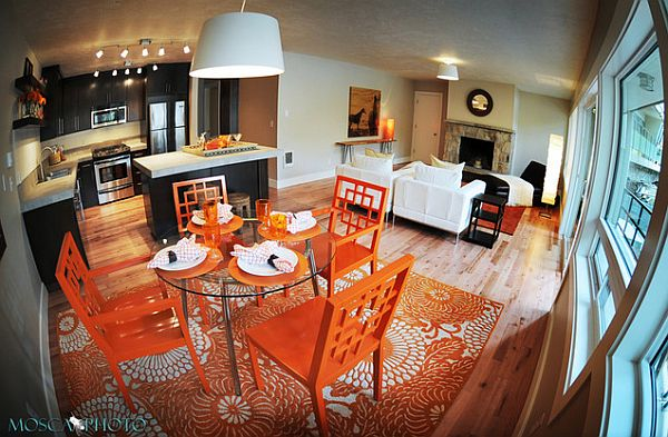 orange-and-white-inspired-dining-space-with-patterned-rug