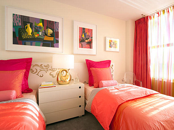 in this next yellow room pink and red accents make the space pop