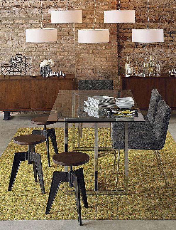 rectangular glass modern dining table