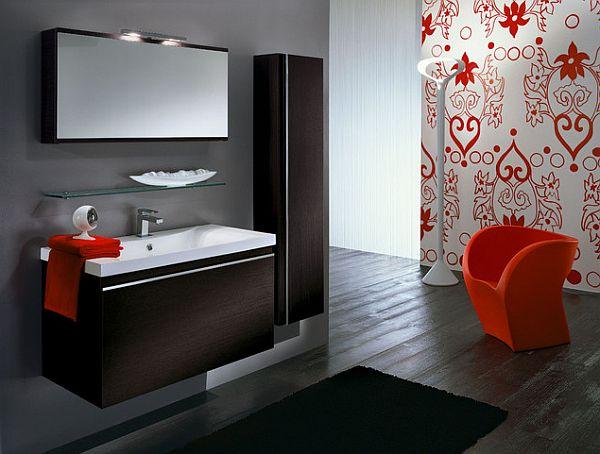red inspired bathroom design