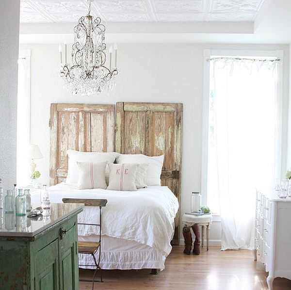 repurposing old doors as bed headboard