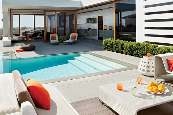 resort like Southern California home Modern living space in California amalgamates contrasting design styles with ease