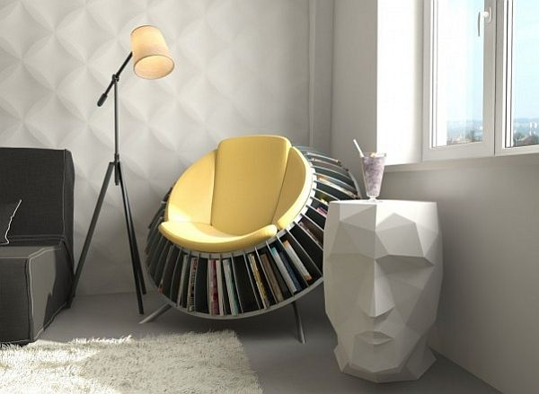 Rock chair with magazine storage
