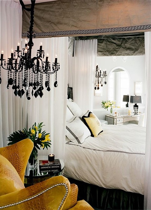 Romantic bedroom with grey silk canopy