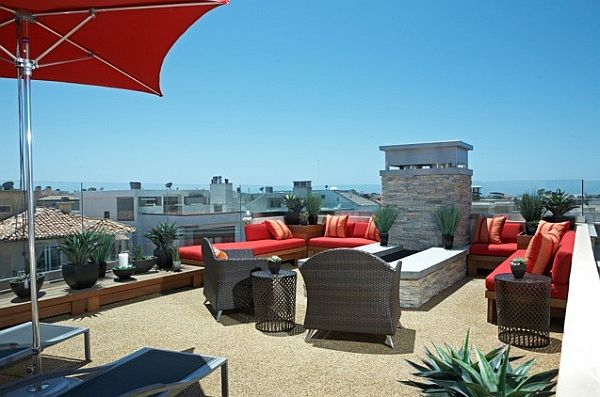 rooftop garden and modern patio furniture