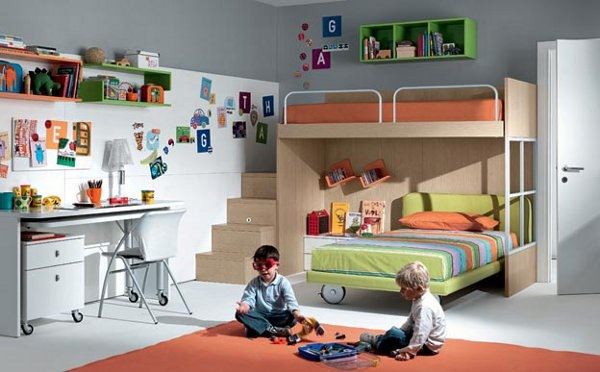 Shared boys 39 room with bunk beds decoist for Boys loft bedroom ideas