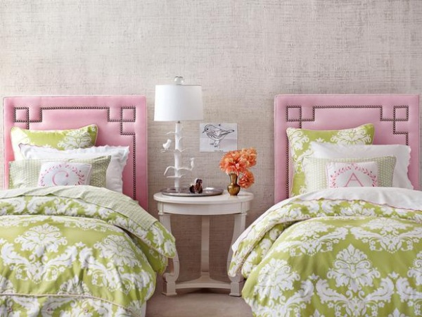 shared girls room pink and green Kid Spaces: 20 Shared Bedroom Ideas