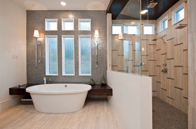 small bathroom with sleek bathtub and walk in shower Stylish Walk in Shower Enclosures the Perfect Choice