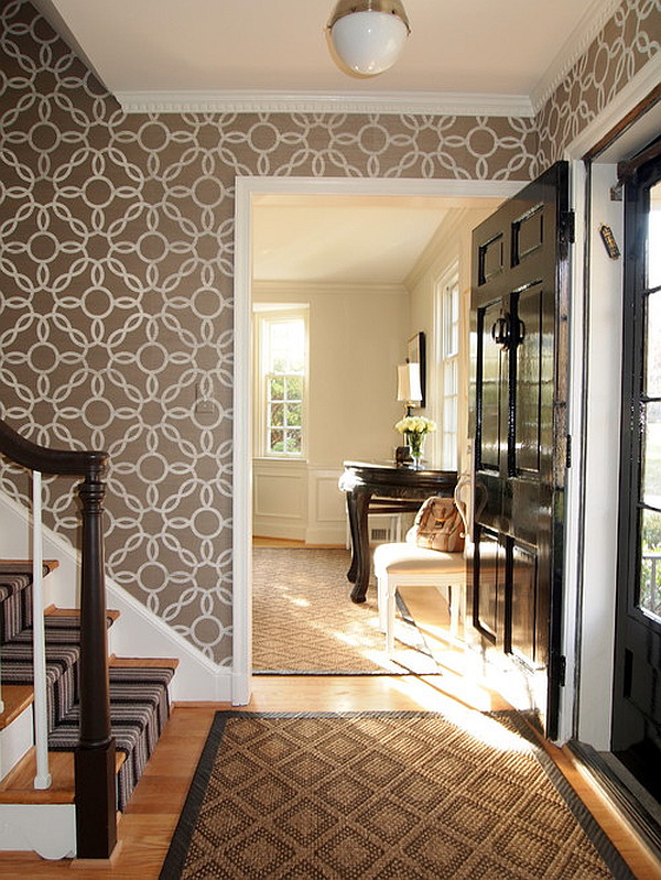 Stylish entryway wallpaper