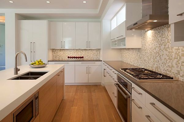 View In Gallery Stylish Kitchen With Modern Cabinets Pulls