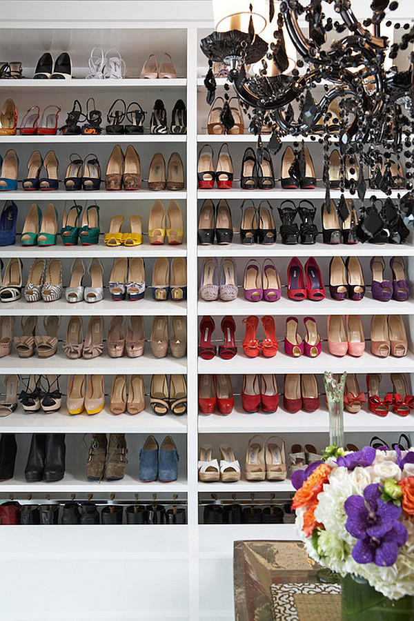 Stylish shoe storage on shelves