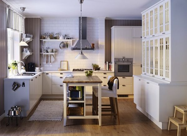 Traditional IKEA kitchen with small fancy knobs