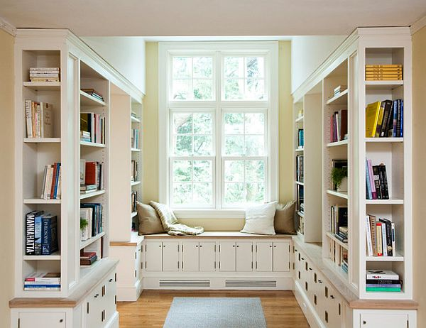 traditional home library with cozy reading nook