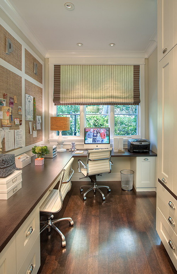 Traditional home office with a feminine touch decoist - Traditional home office design ...