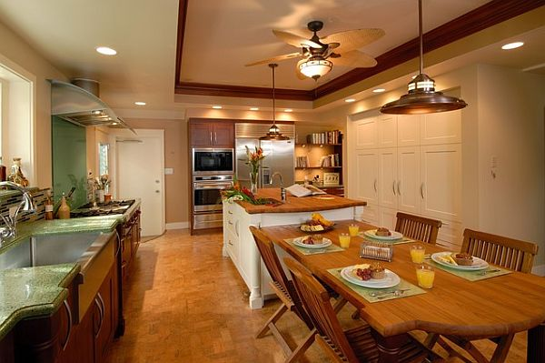 Traditional kitchen with cork flooring