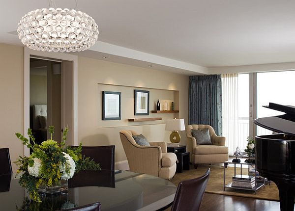 traditional living room with caboche suspension pendant lamp (foscarini)