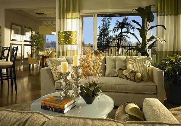 two-toned green window treatments