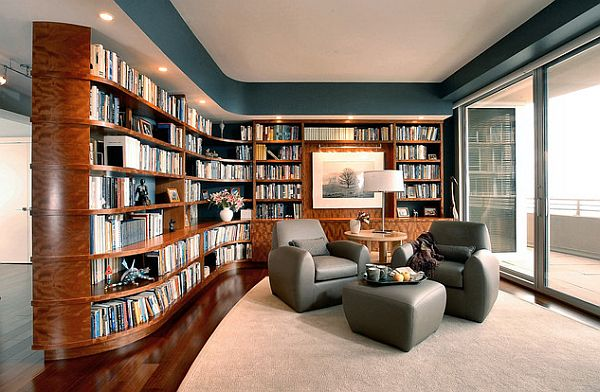 Custom Home Library Furniture With Curves And Modern Touches
