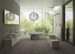 wood deck bathroom with frameless glass walk in shower
