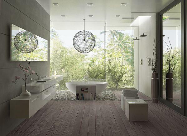wood deck bathroom with frameless glass walk in shower