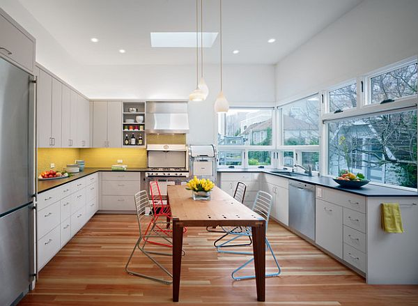 yelow white and blue kitchen design