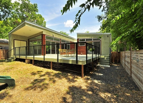 A back view of a modern modular home