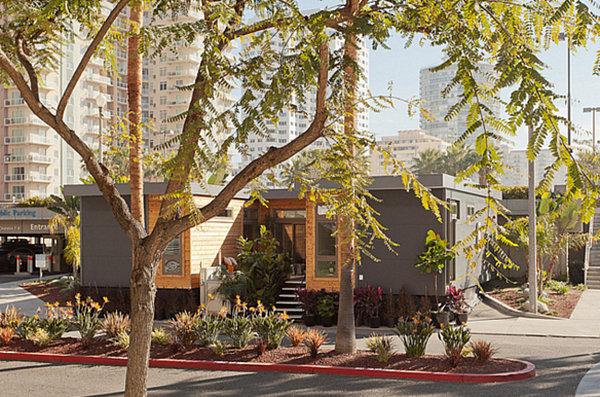 A modular home exterior