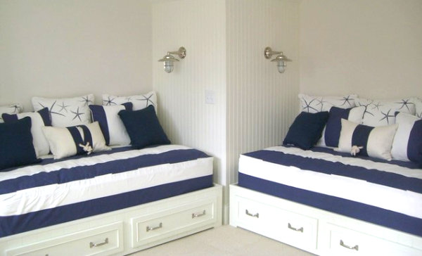 A nautical guest room
